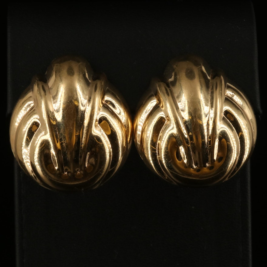 14K Puffed Fluted Button Earrings