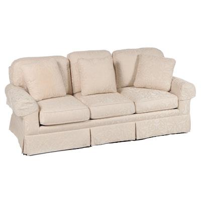 Sherrill Cream Damask Upholstered Sofa