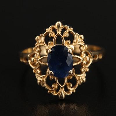 Vintage Style 14K Sapphire Openwork Ring