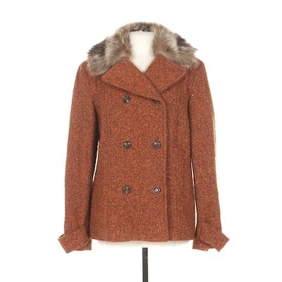 Cole Haan Tweed Wool Double-Breasted Peacoat with Raccoon Fur Collar
