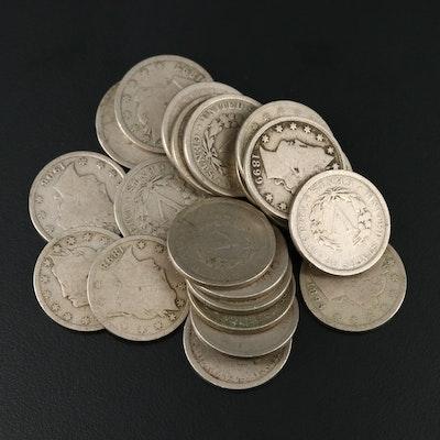 "21 Liberty ""V"" Nickels, 1892–1912"