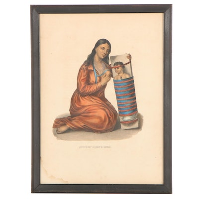 """Hand-Colored Lithograph After Thomas L. McKenney """"Chippeway Squaw and Child"""""""
