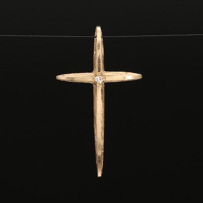 14K 0.01 CT Diamond Solitaire Cross Pendant