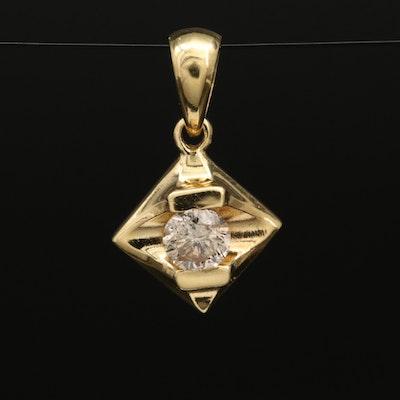 18K 0.18 CT Diamond Solitaire Pendant