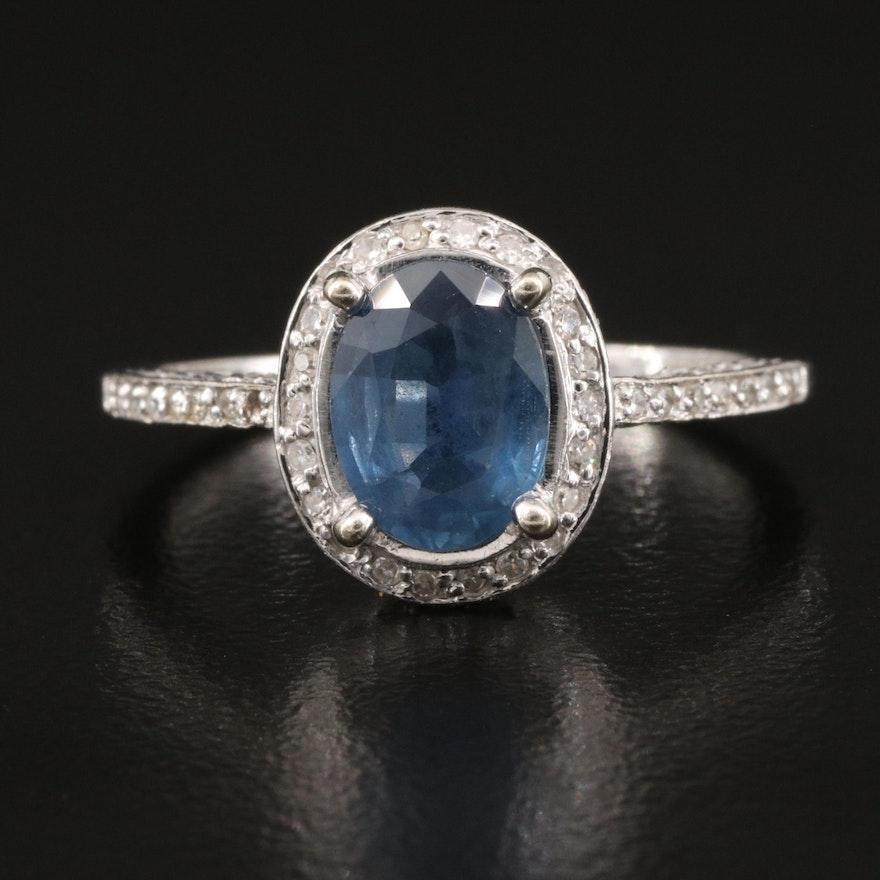 14K 1.60 CT Sapphire and Diamond Halo Ring