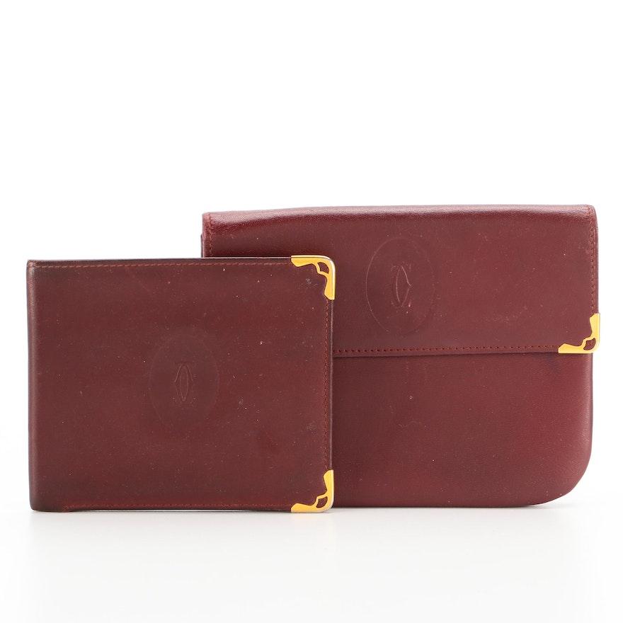 Must de Cartier Paris Burgundy Leather Accessory Pouch with Wallet