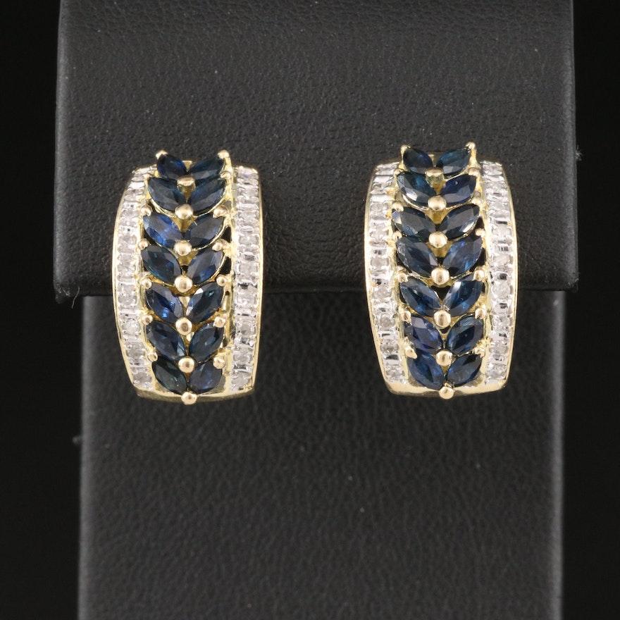 14K Sapphire and Diamond J Hoop Earrings