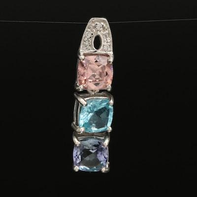 Sterling Silver Tanzanite, Apatite and Zircon Drop Pendant