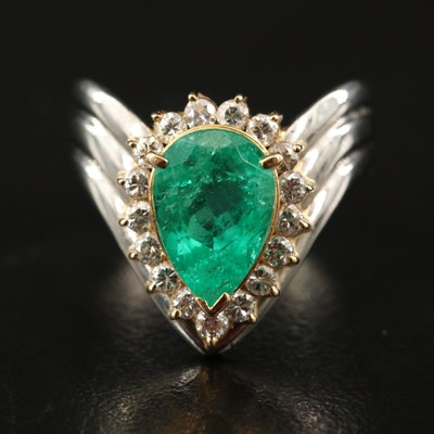 Platinum 1.68 CT Columbian Emerald and Diamond Chevron Ring with 18K Accents