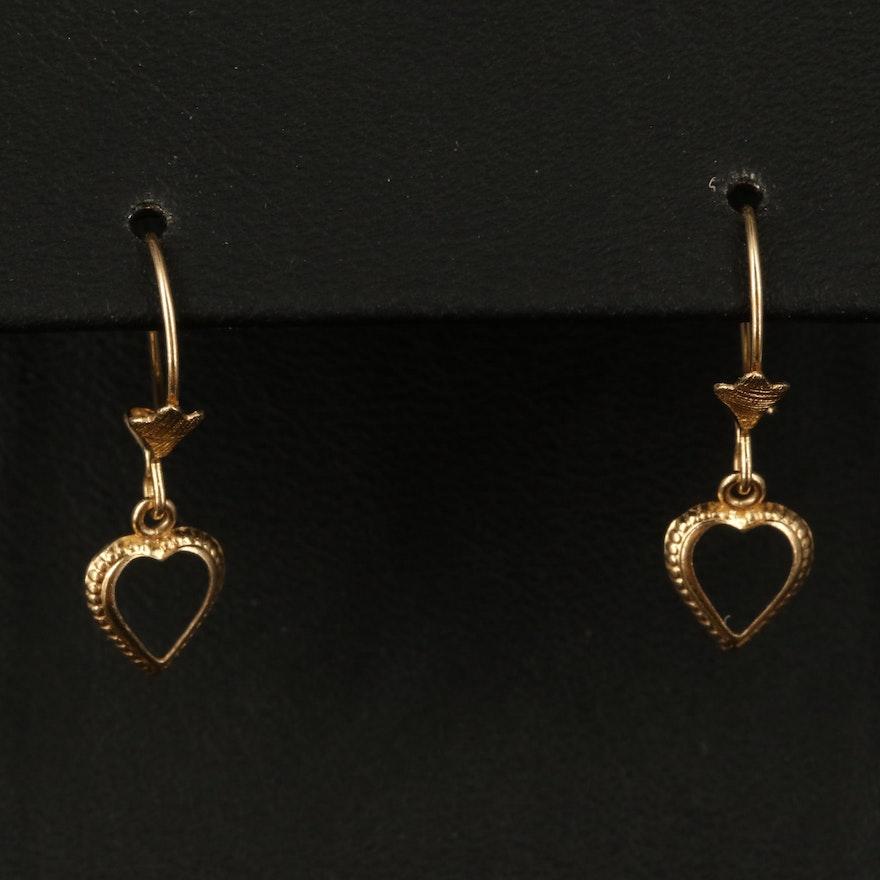 14K Heart Drop Earrings