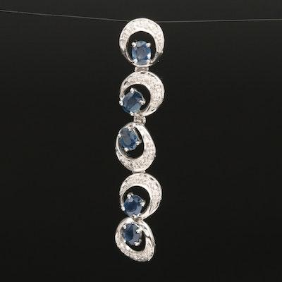 Sterling Sapphire and Zircon Drop Pendant