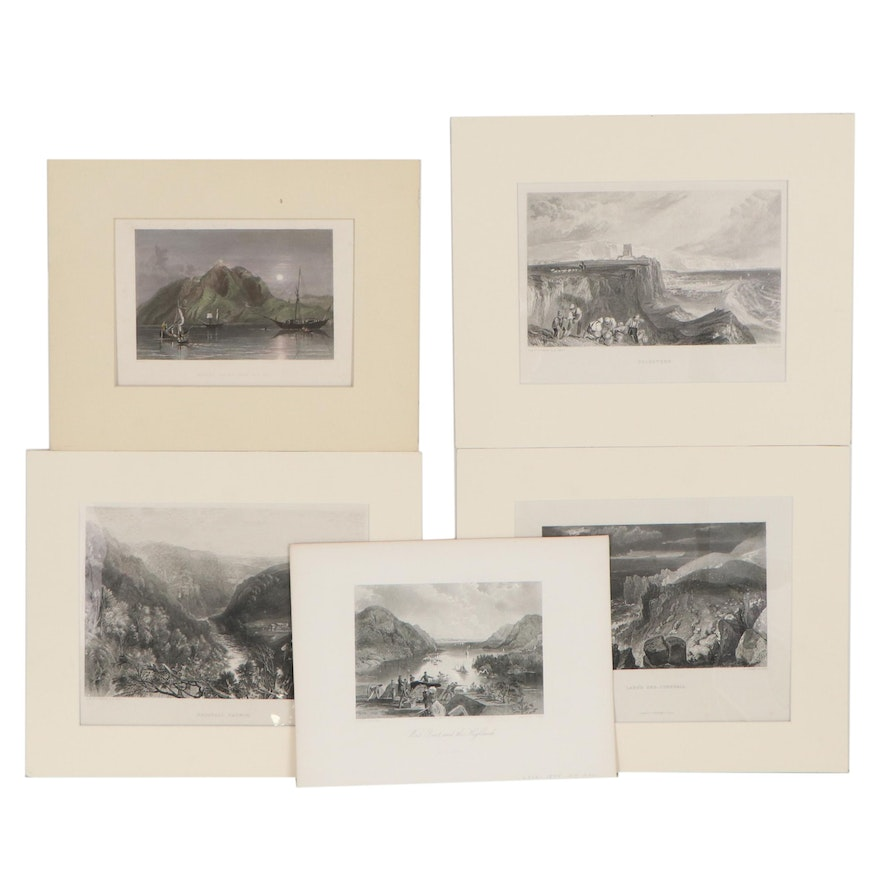 """Landscape Engravings Including """"Brignall Church,"""" Early 20th Century"""