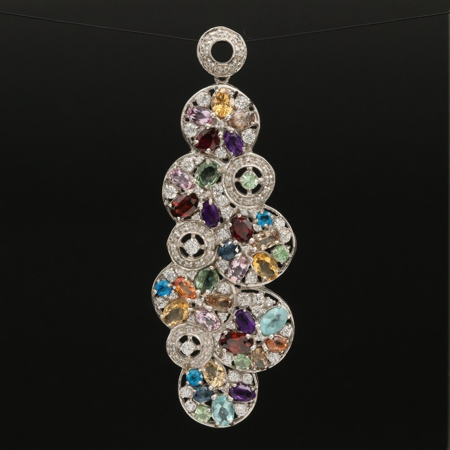 Sterling Silver Amethyst, Garnet and Zircon Cluster Pendant
