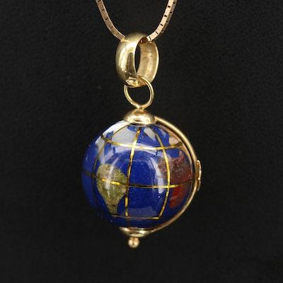 Italian 18K Globe Pendant on 14K Chain Including Unakite and Jasper