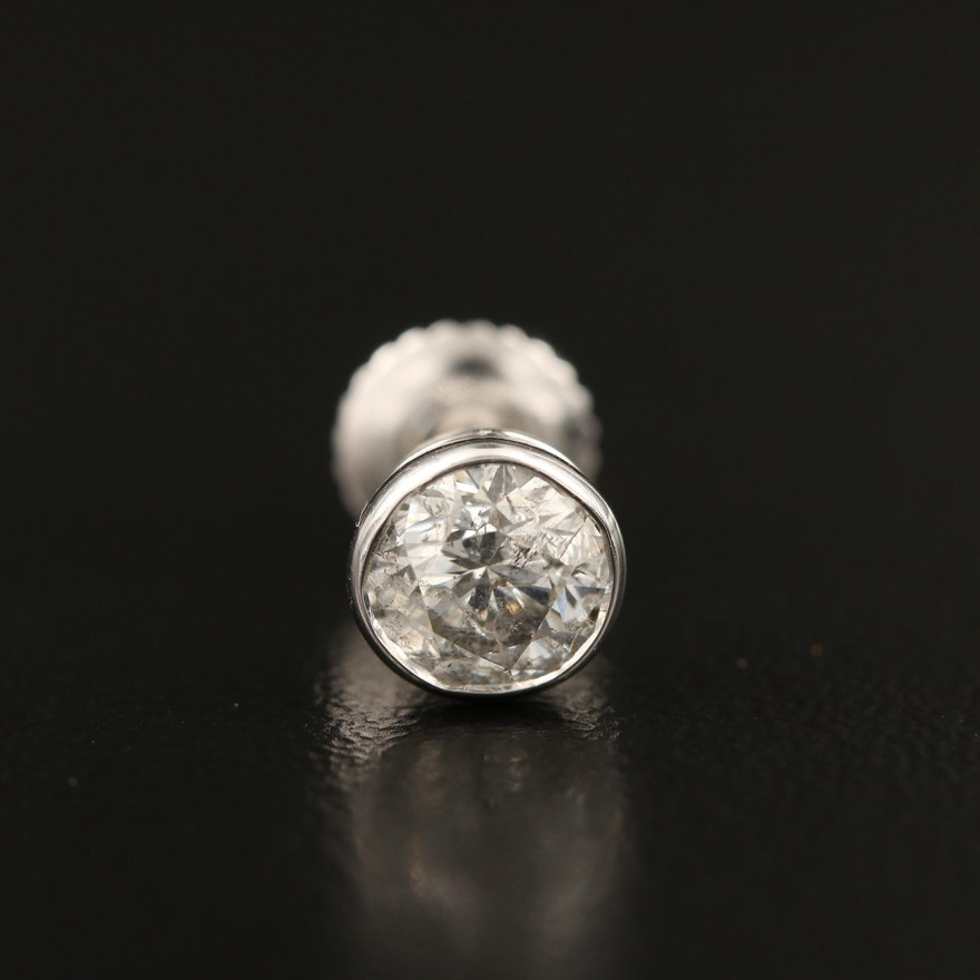 14K 0.63 CT Diamond Single Stud Earring