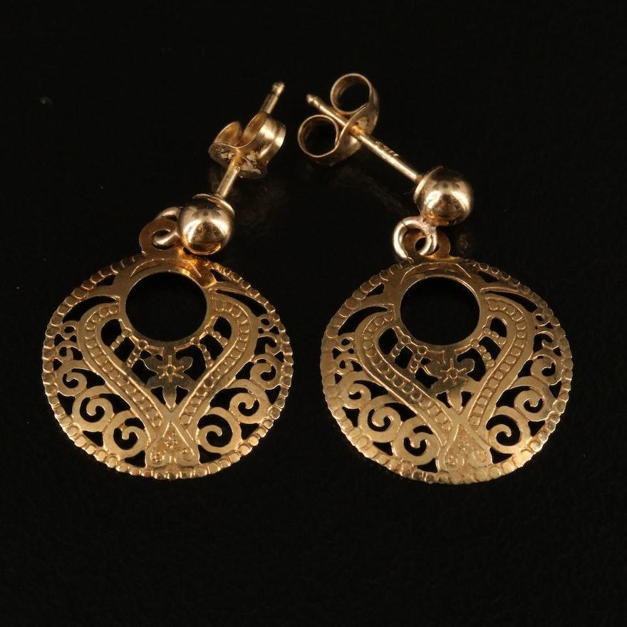 14K Openwork Earrings