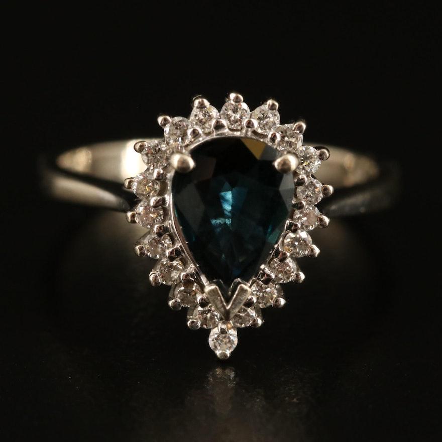 14K 1.85 CT Sapphrie and Diamond Halo Teardrop Ring