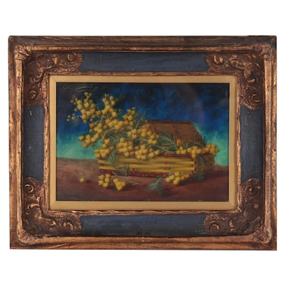 Still Life Oil Painting of Flowers in Basket, Early 20th Century