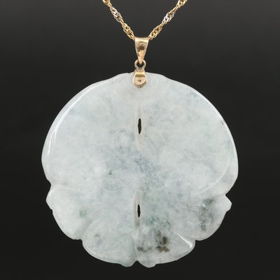 Carved Jadeite Fish Pendant on 14K Singapore Chain Necklace