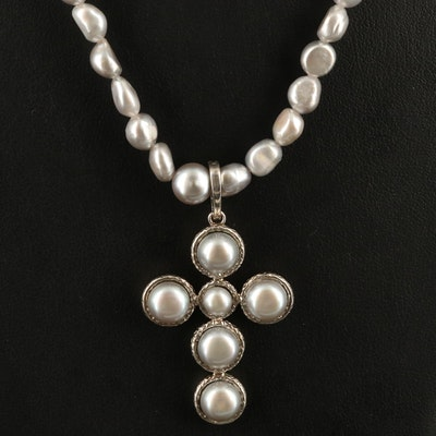 Honora Pearl Cross Enhancer Pendant on Beaded Necklace