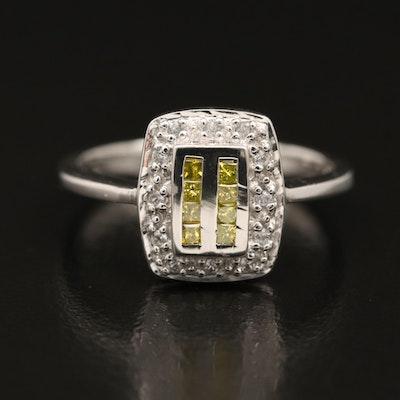 Sterling Diamond and Zirconia Ring