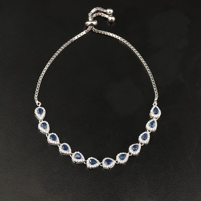 Sterling Sapphire and Cubic Zirconia Bracelet
