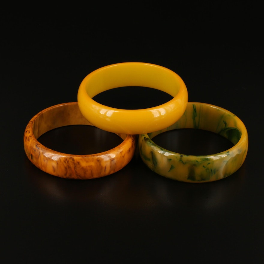 Bakelite Bangles Featuring Marbled and Butterscotch