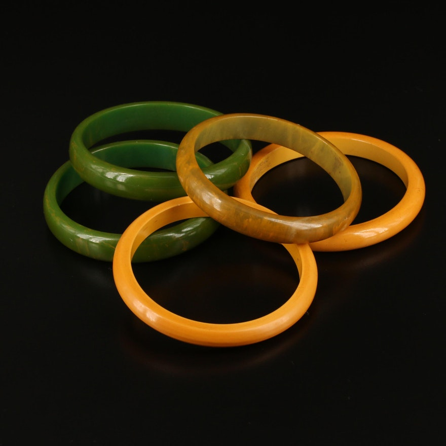 Marbled Creamed Spinach and Butterscotch Bakelite Bangles