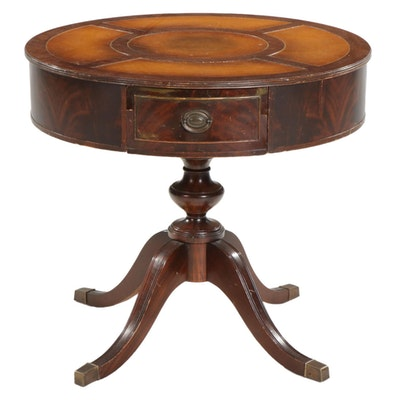 Classical Style Mahogany Drum Center Table with Embossed Leather Top