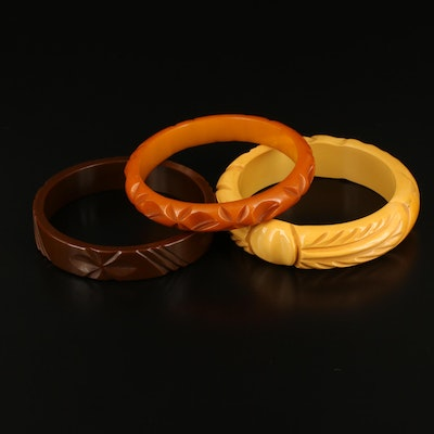 Carved Bakelite Bangles Featuring Butterscotch