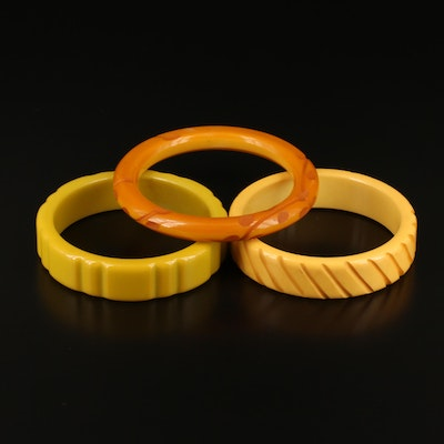 Carved Bakelite Bangles Featuring Butterscotch Color