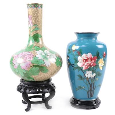 Chinese Cloisonné Flower Blossom Vases