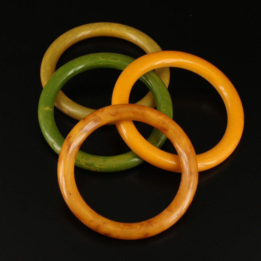 Marbled Bakelite Bangles Featuring Creamed Spinach