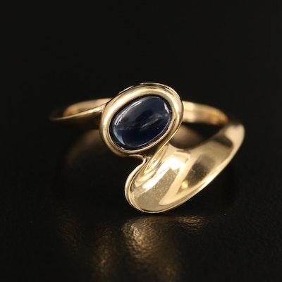 14K Bezel Set Sapphire Bypass Ring with Knife-Edge