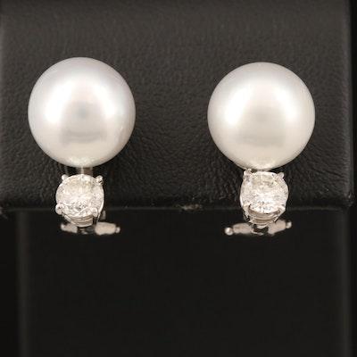 14K 11.31 mm Pearl and Diamond Earrings