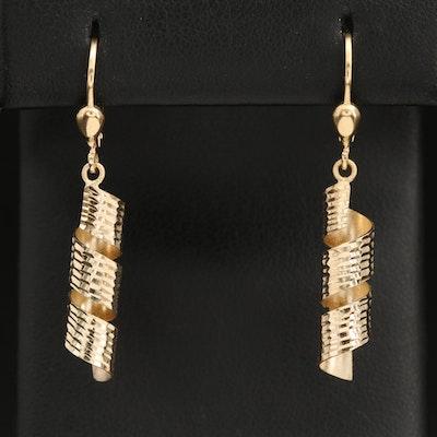 14K Curled Ribbon Earrings