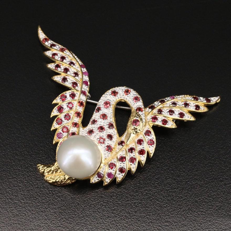 Sterling Pearl and Garnet Swan Converter Brooch