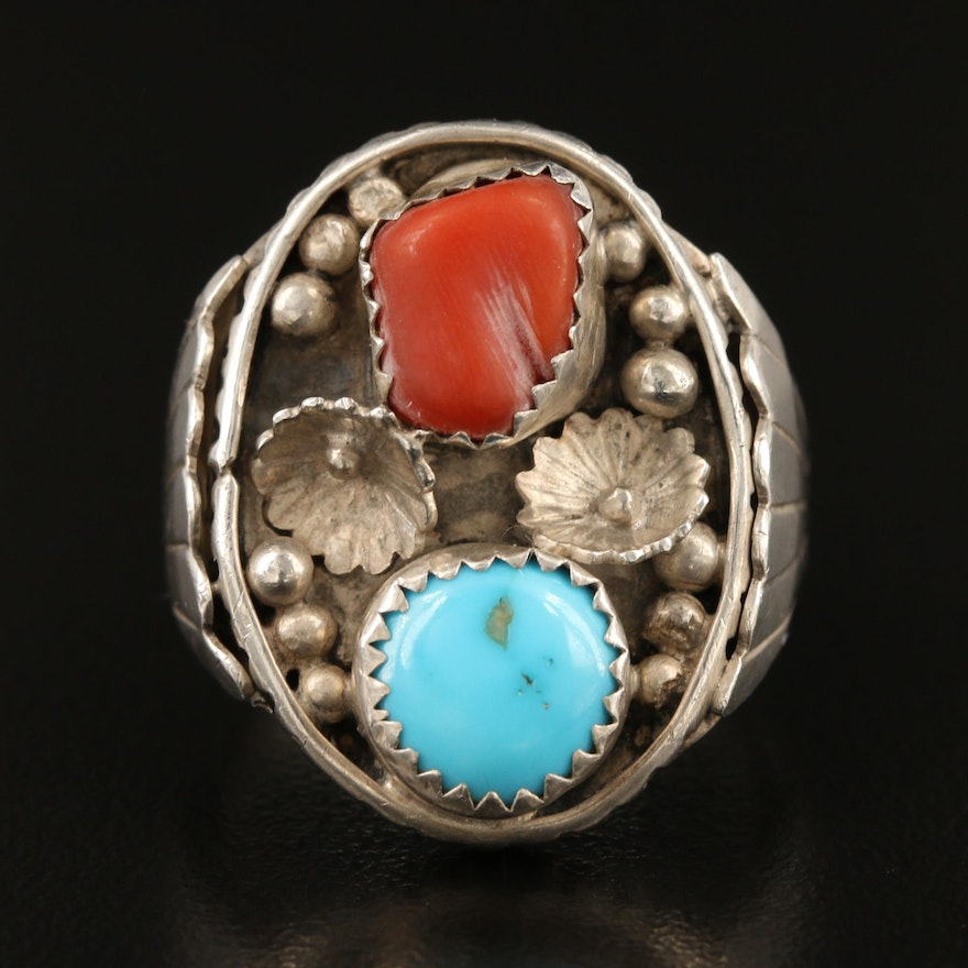 Southwestern Sterling Turquoise and Coral Appliqué Ring