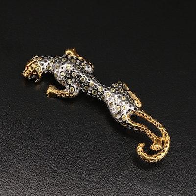 Sterling Sapphire Leopard Brooch