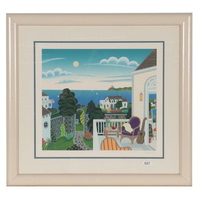 "Thomas McKnight Serigraph ""Harbor View,"" Circa 1990"