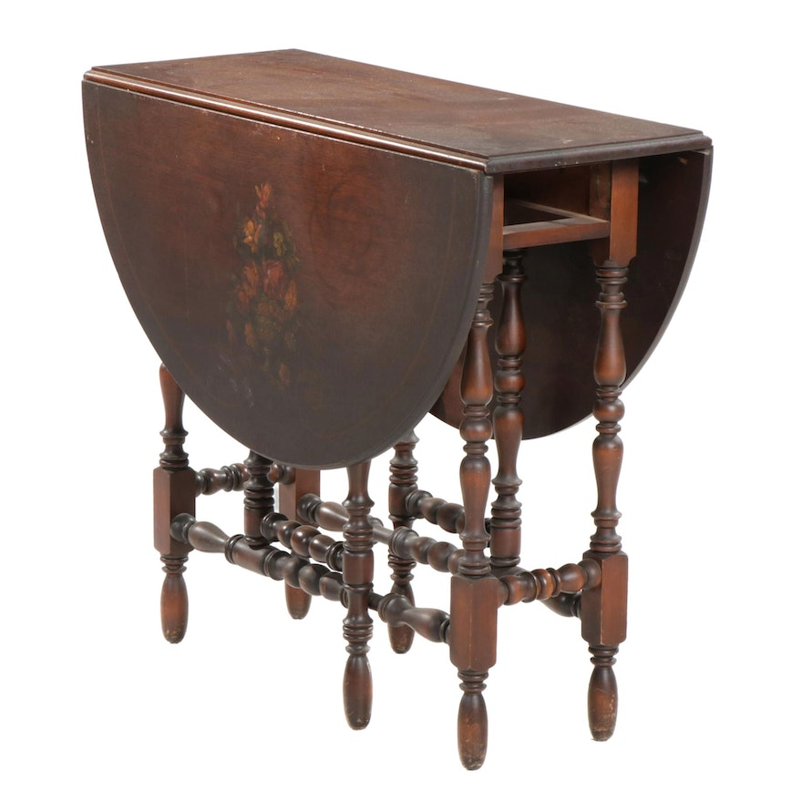 William and Mary Style Paint-Decorated Walnut Gate-Leg Table