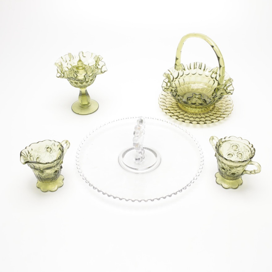 """Imperial Glass """"Candlewick"""" Pastry Tray and Other Depression Glass Tableware"""