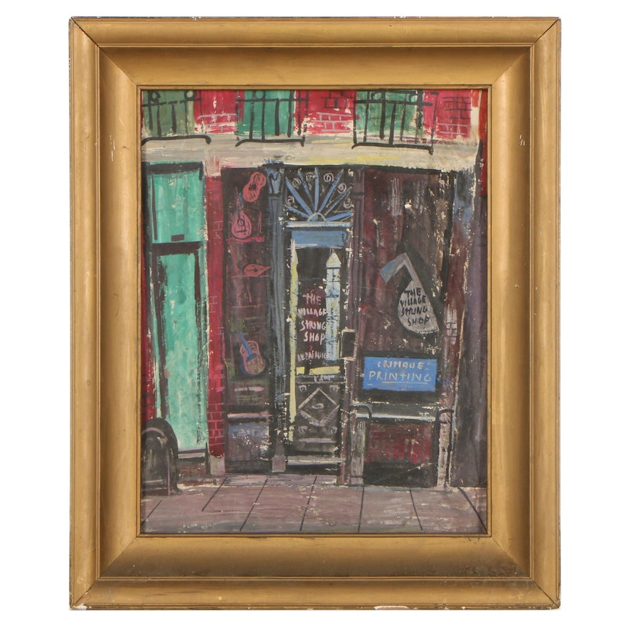 """Esther Phillips Oil Painting """"The String Shop,"""" Mid-20th Century"""