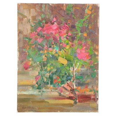 Stephen Hedgepeth Abstract Oil Painting of Flowering Bush, 21st Century