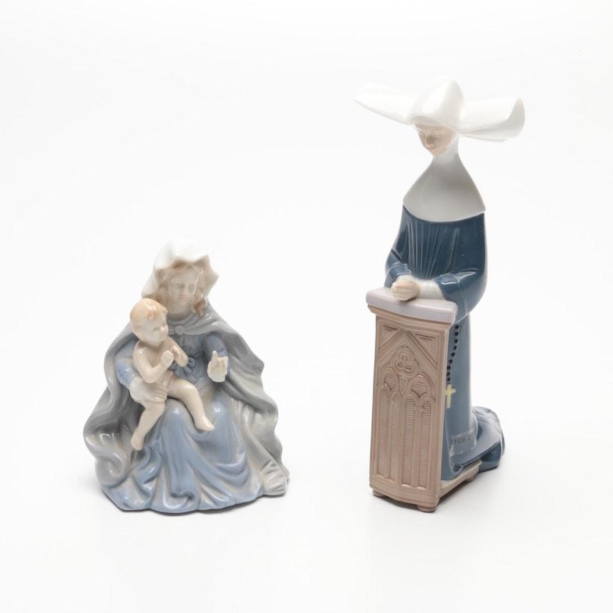 "Lladró ""Meditation"" Porcelain Figurine with ""Ave Maria"" Porcelain Music Box"
