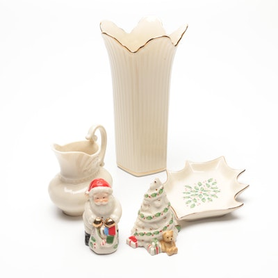 Lenox Vase and Creamer with Christmas Tray and Shakers