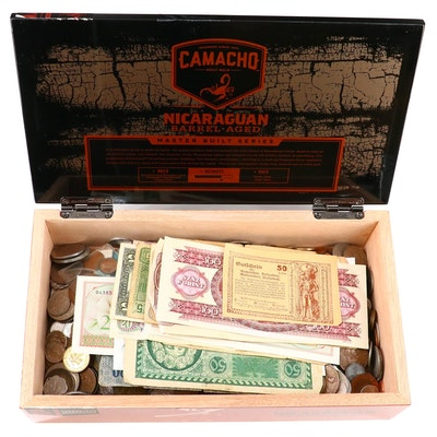Foreign Coin and Currency Collection Mid to Late 20th Century