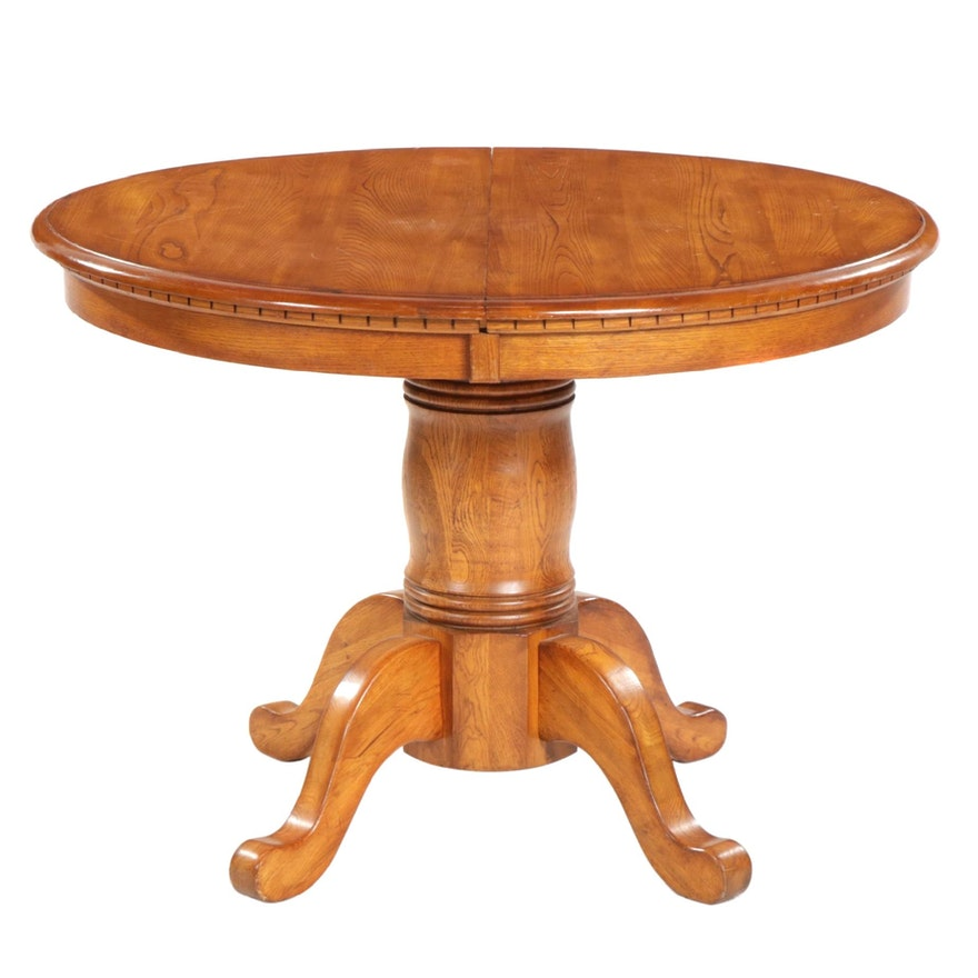 "Ashley Furniture ""Drake"" Oak Pedestal Extension Dining Table"