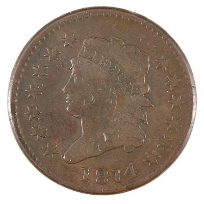 "Rare Plain ""4"" Variety 1814 Classic Head Large Cent"