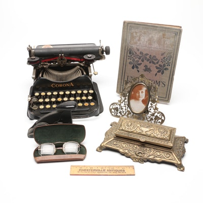 Corona Typewriter Co. Travel Typewriter with Other Desk Accessories and More